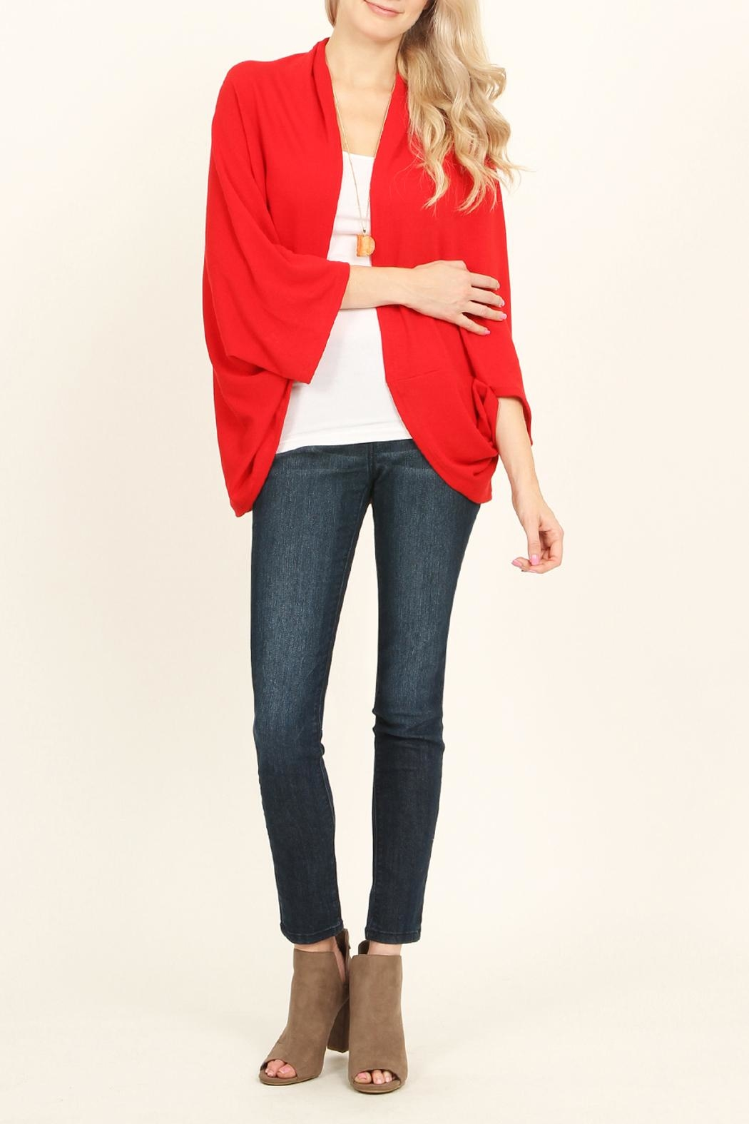 Riah Fashion Open Front Dolman Cardigan - Front Full Image