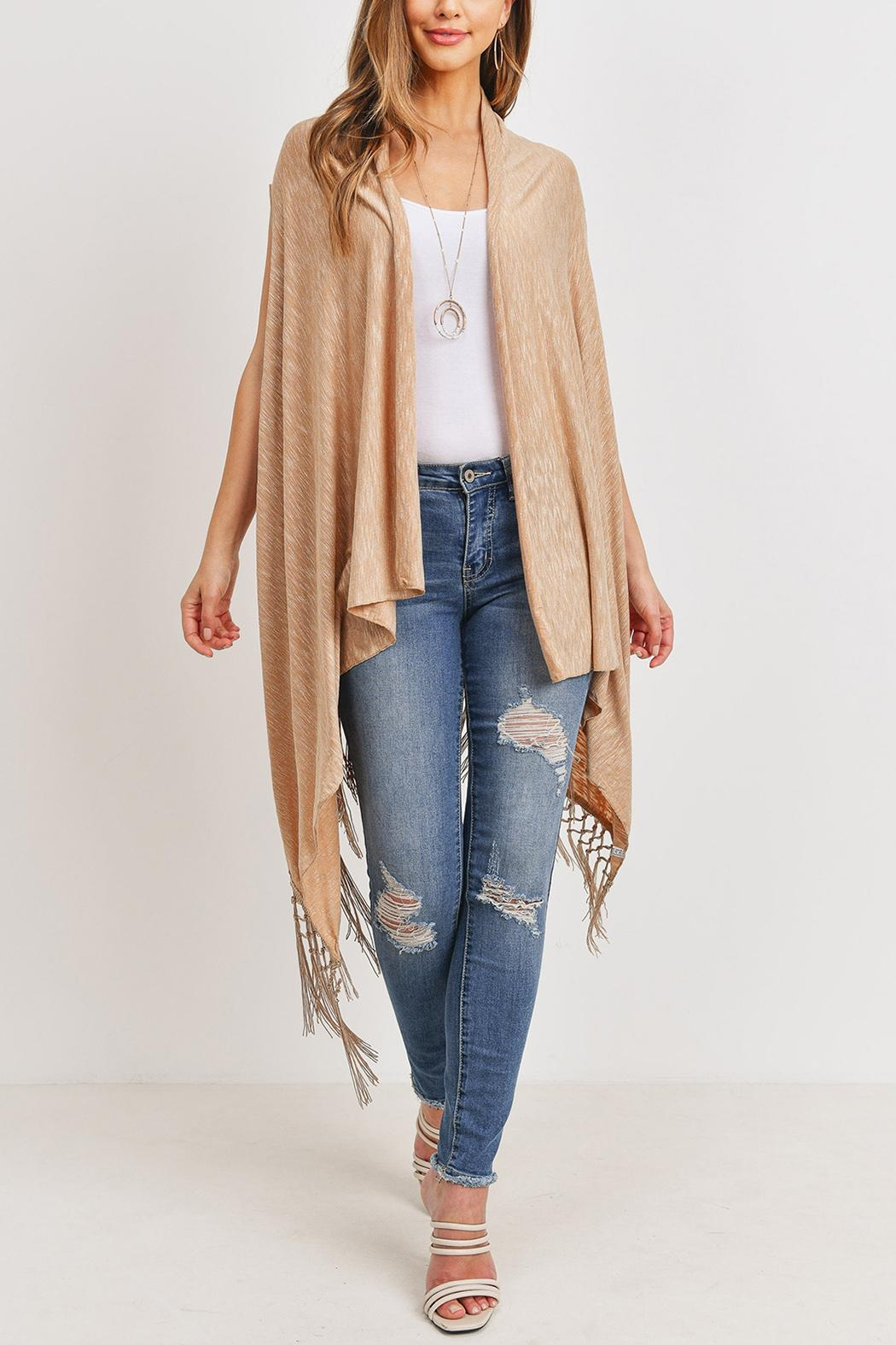 Riah Fashion Open-Front Fringe-Tassel Kimono-Vest - Side Cropped Image