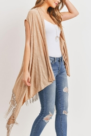 Riah Fashion Open-Front Fringe-Tassel Kimono-Vest - Back cropped