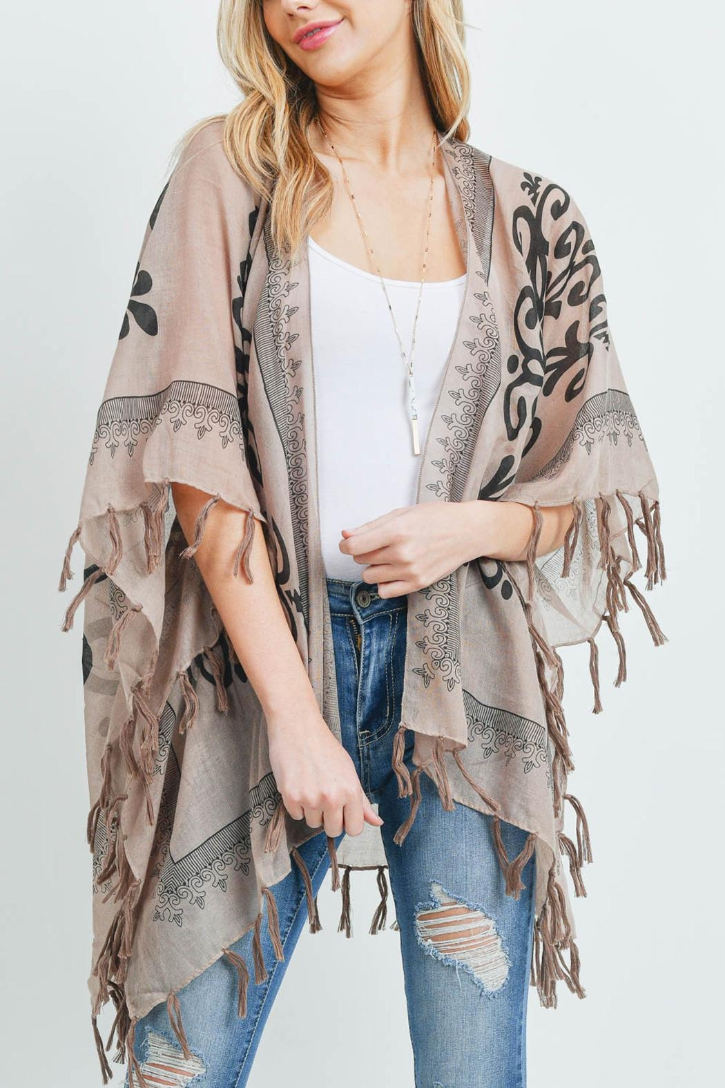 Riah Fashion Open-Front Graphic-Printed Tassel-Kimono - Back Cropped Image