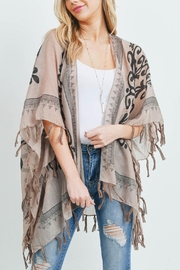 Riah Fashion Open-Front Graphic-Printed Tassel-Kimono - Back cropped