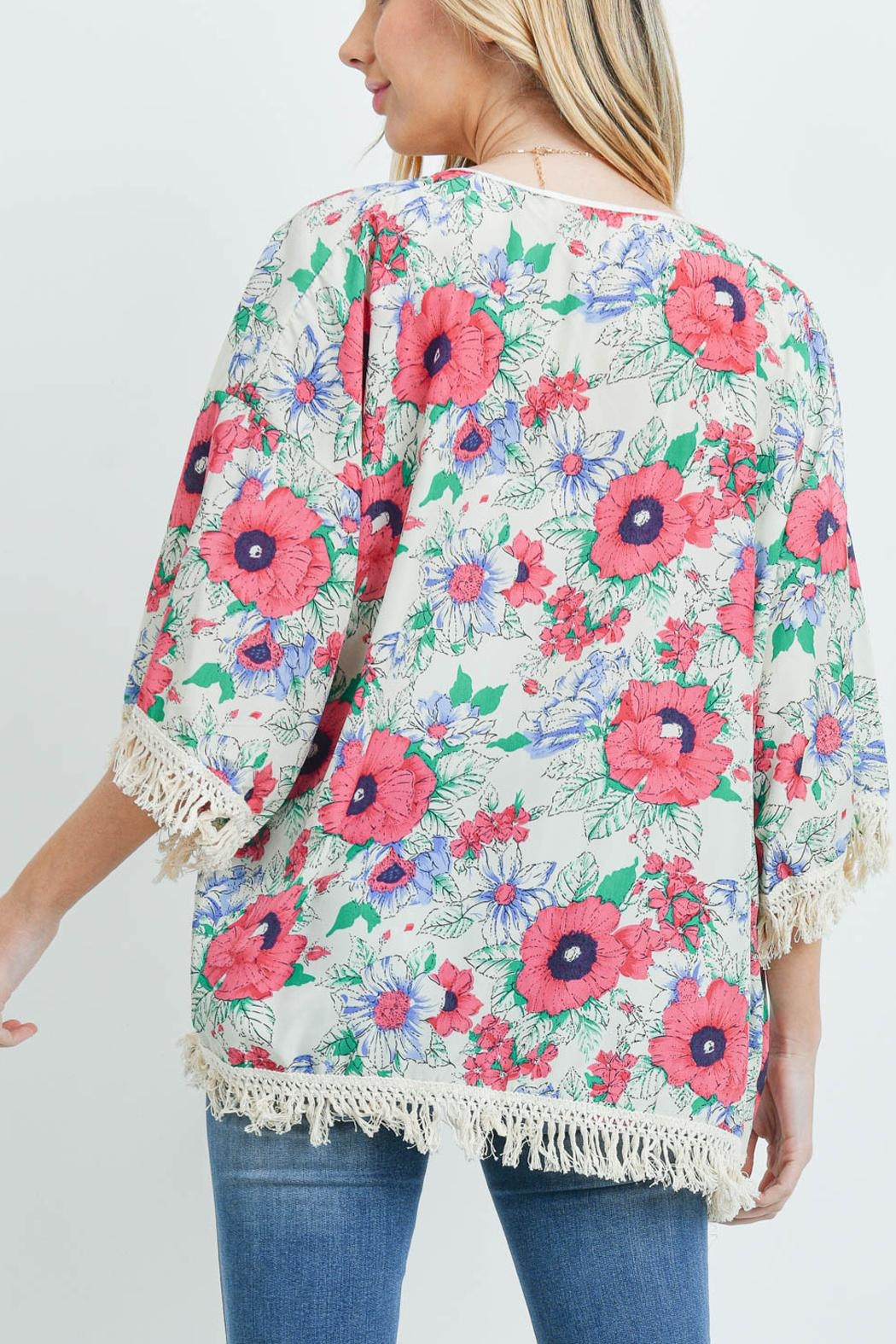 Riah Fashion Open-Front Hip-Length Floral-Kimono - Front Full Image