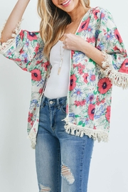 Riah Fashion Open-Front Hip-Length Floral-Kimono - Front cropped