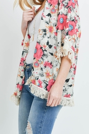 Riah Fashion Open-Front Hip-Length Floral-Kimono - Other