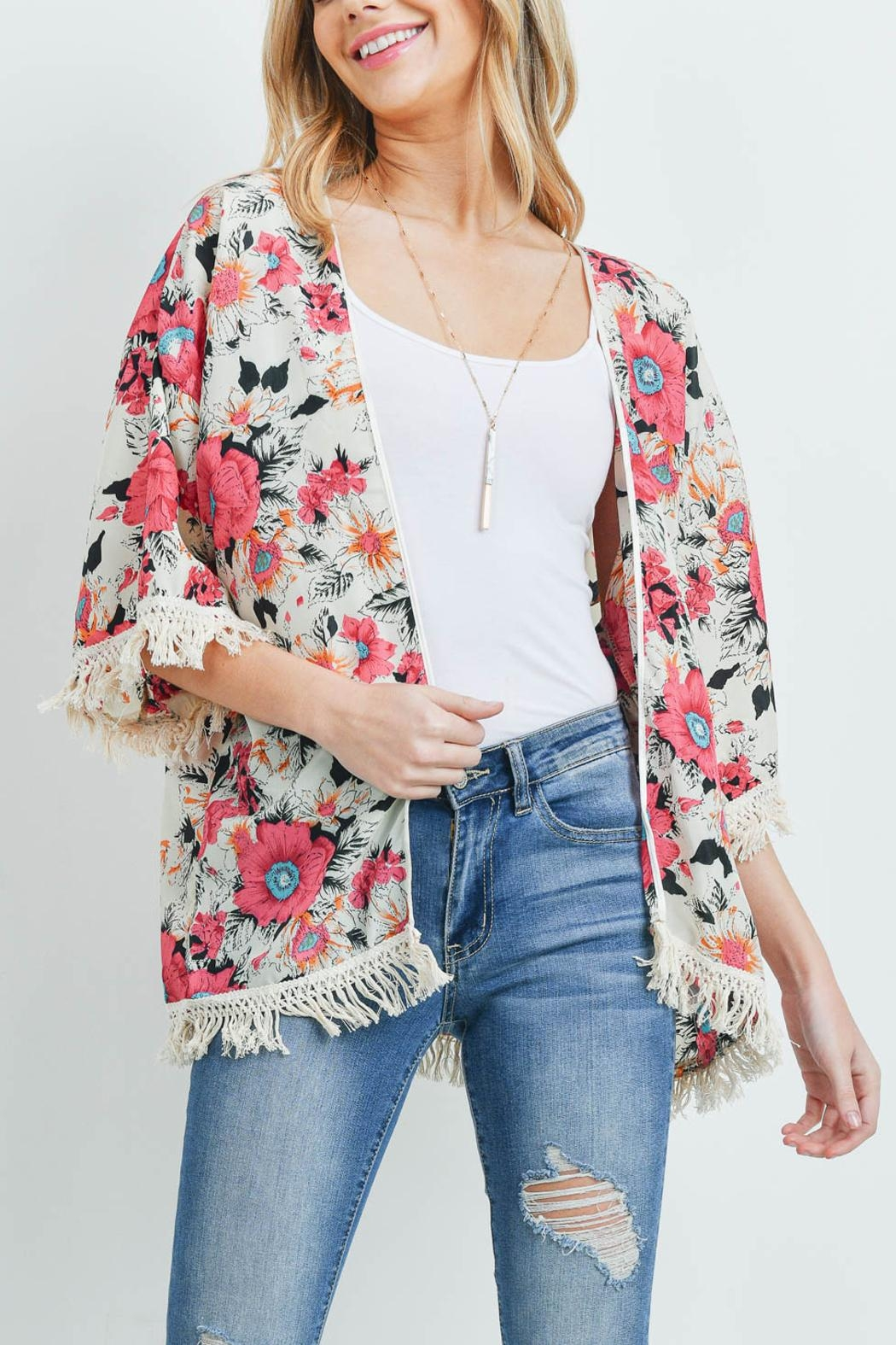 Riah Fashion Open-Front Hip-Length Floral-Kimono - Back Cropped Image