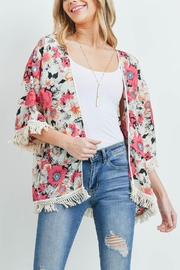 Riah Fashion Open-Front Hip-Length Floral-Kimono - Back cropped