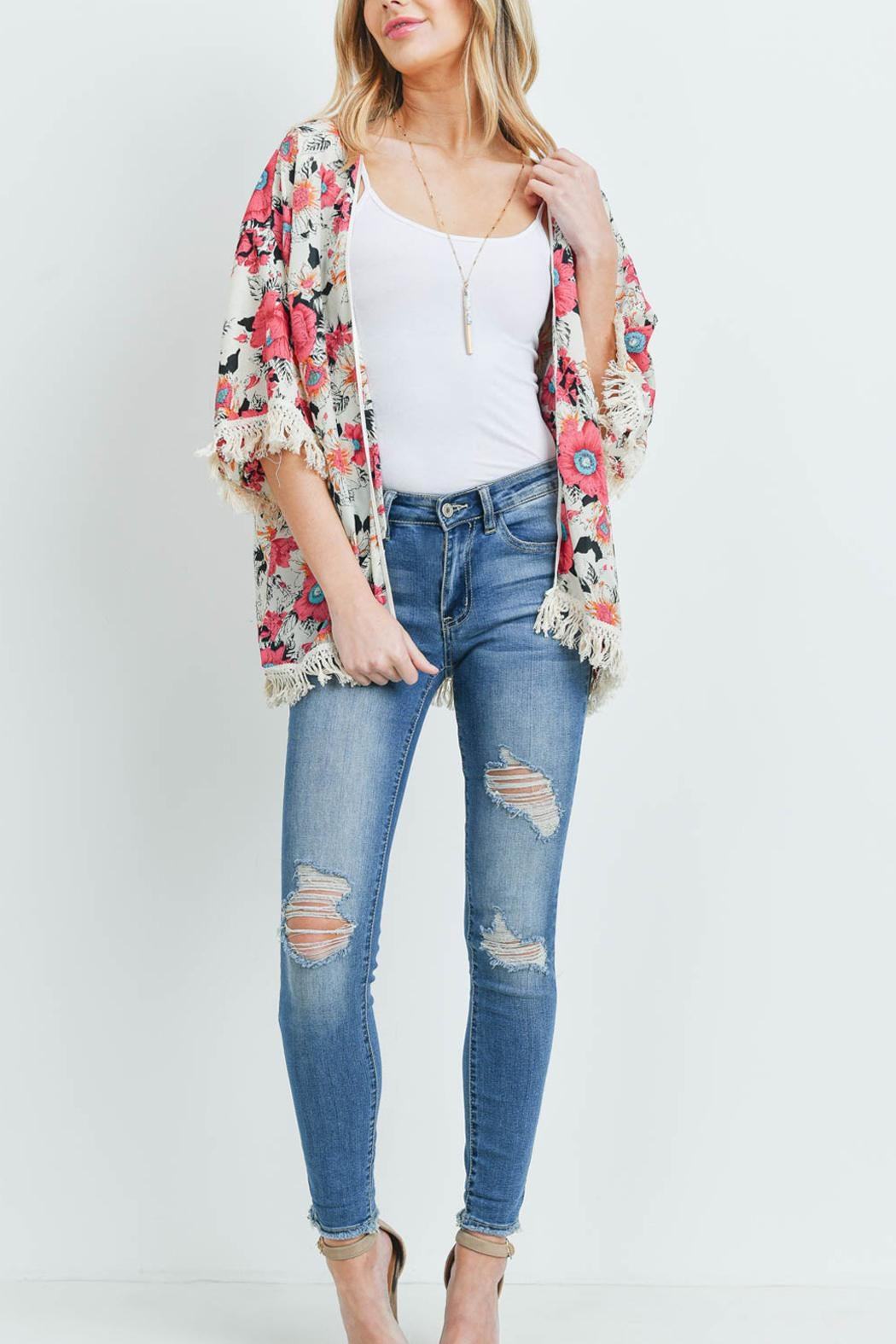 Riah Fashion Open-Front Hip-Length Floral-Kimono - Side Cropped Image