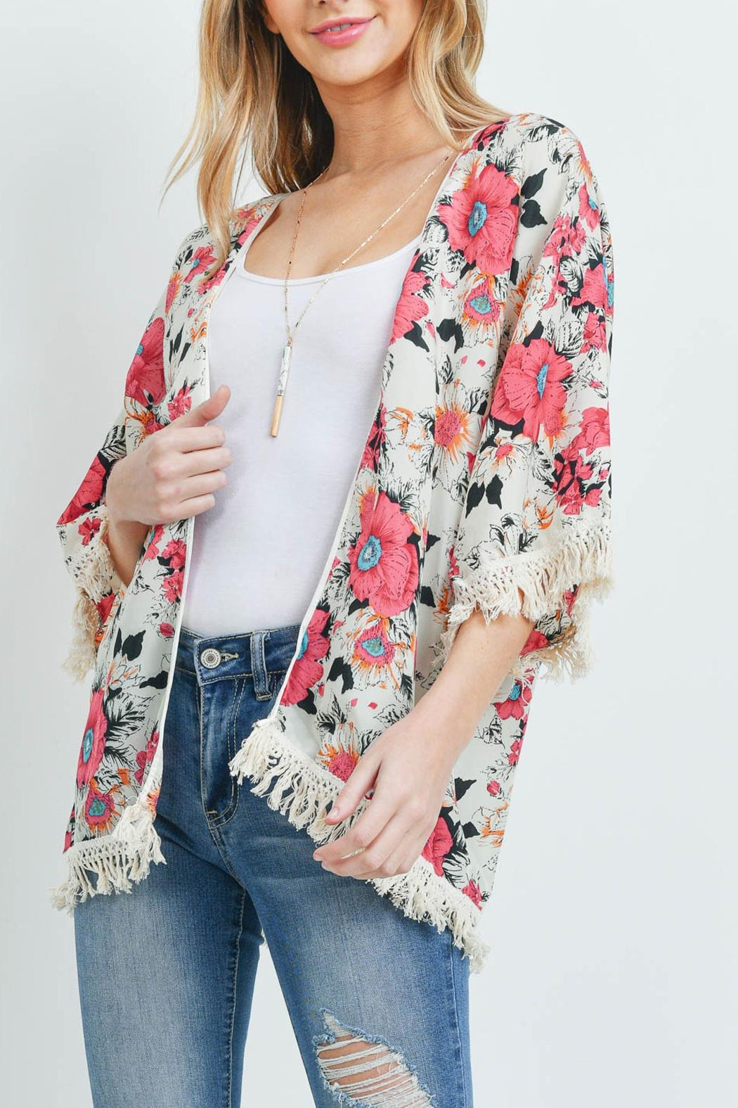 Riah Fashion Open-Front Hip-Length Floral-Kimono - Main Image