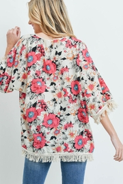 Riah Fashion Open-Front Hip-Length Floral-Kimono - Front full body