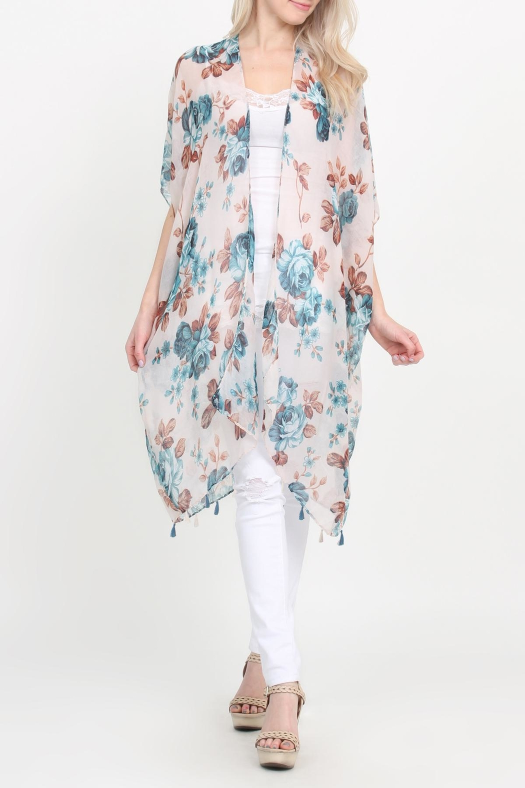 Riah Fashion Open-Front Knee-Length Floral-Cardigan - Main Image