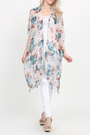 Riah Fashion Open-Front Knee-Length Floral-Cardigan - Product Mini Image