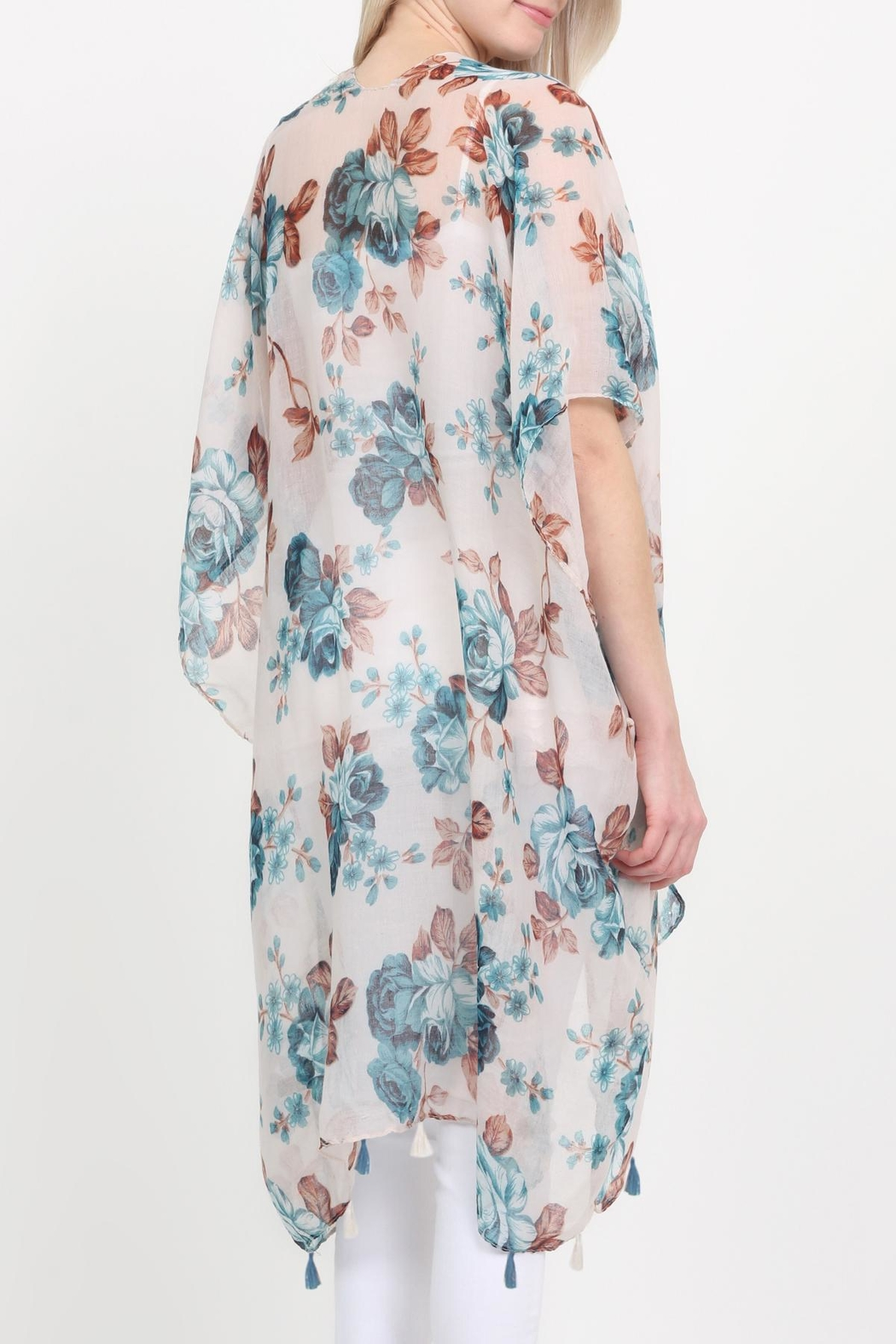 Riah Fashion Open-Front Knee-Length Floral-Cardigan - Side Cropped Image