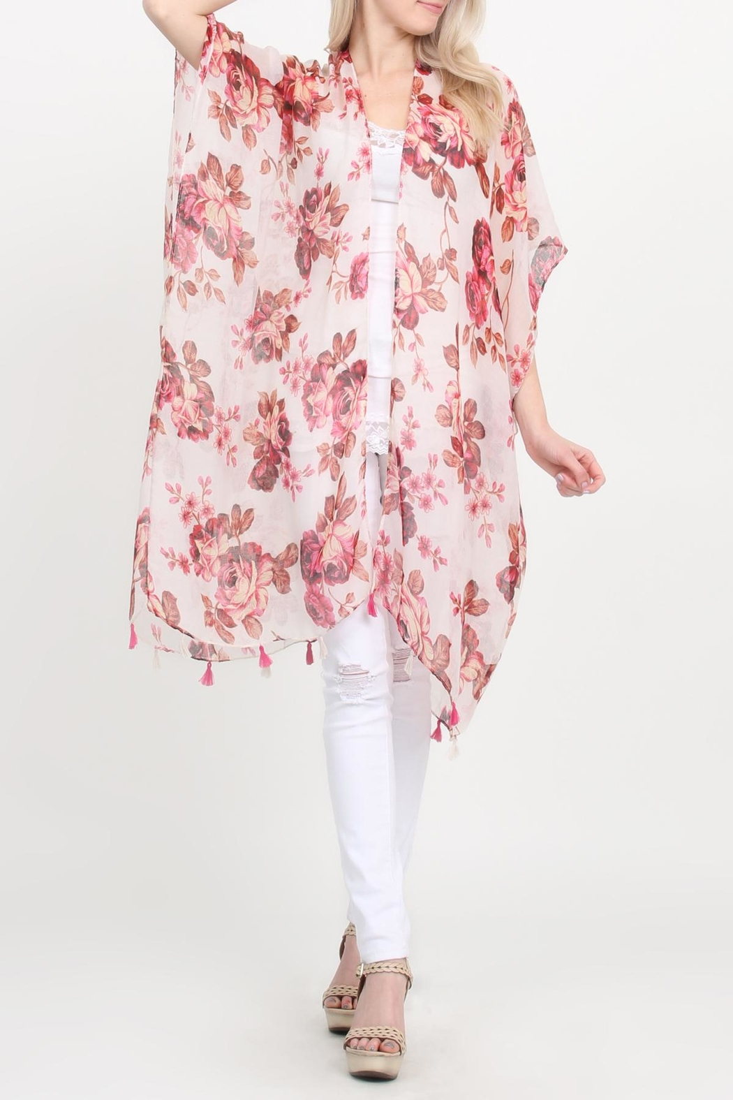 Riah Fashion Open-Front Knee-Length Floral-Cardigan - Front Cropped Image