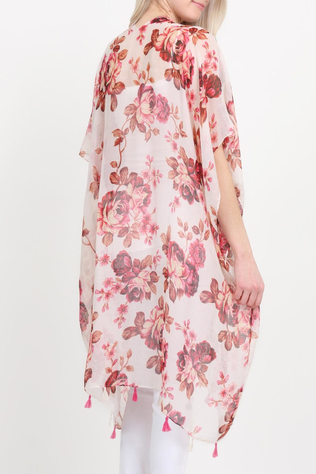 Riah Fashion Open-Front Knee-Length Floral-Cardigan - Back Cropped Image