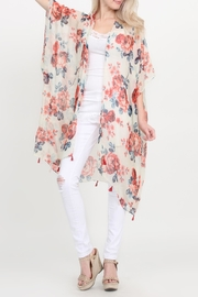 Riah Fashion Open-Front Knee-Length Floral-Cardigan - Front cropped