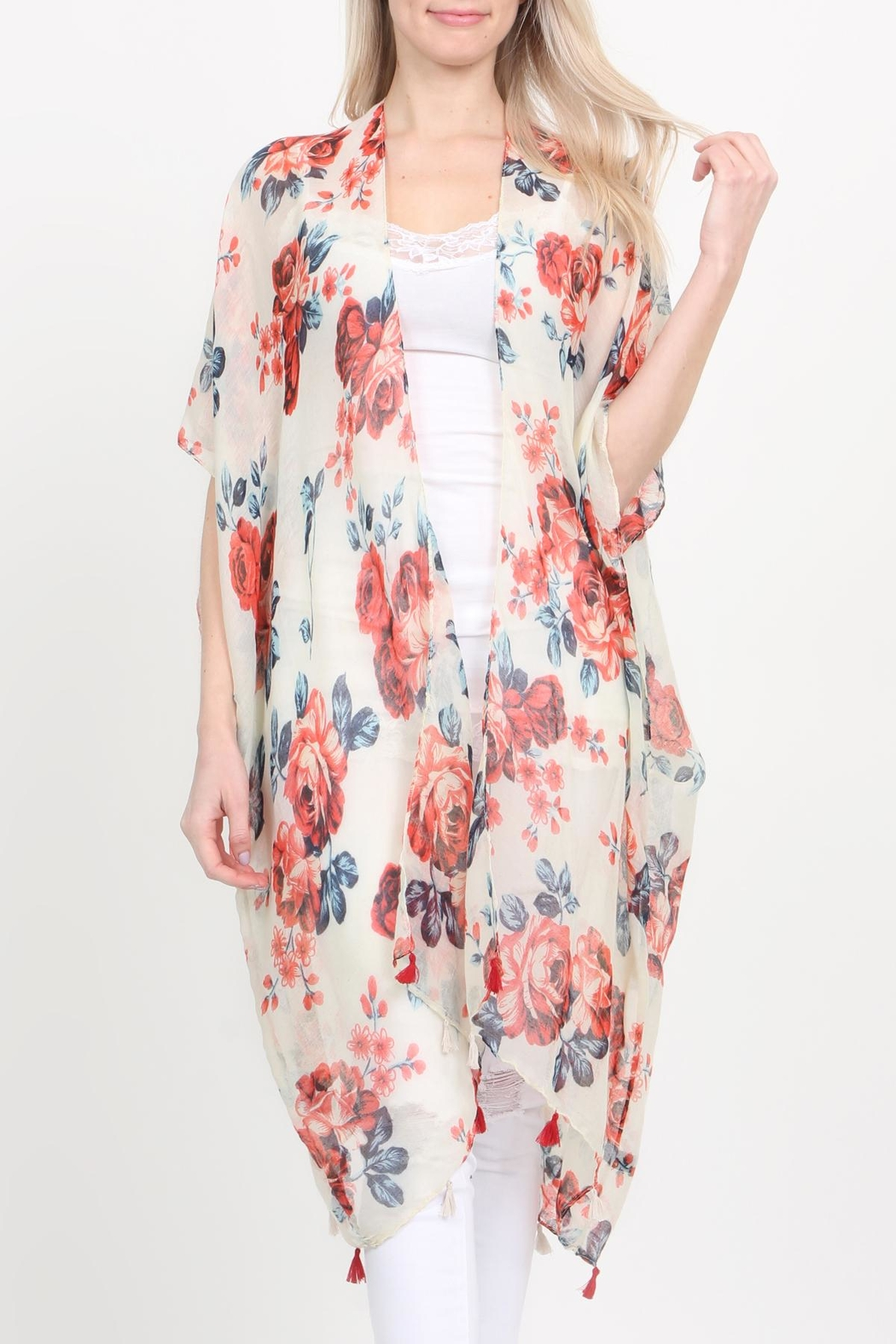 Riah Fashion Open-Front Knee-Length Floral-Cardigan - Front Full Image