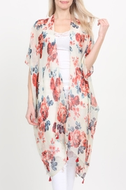 Riah Fashion Open-Front Knee-Length Floral-Cardigan - Front full body