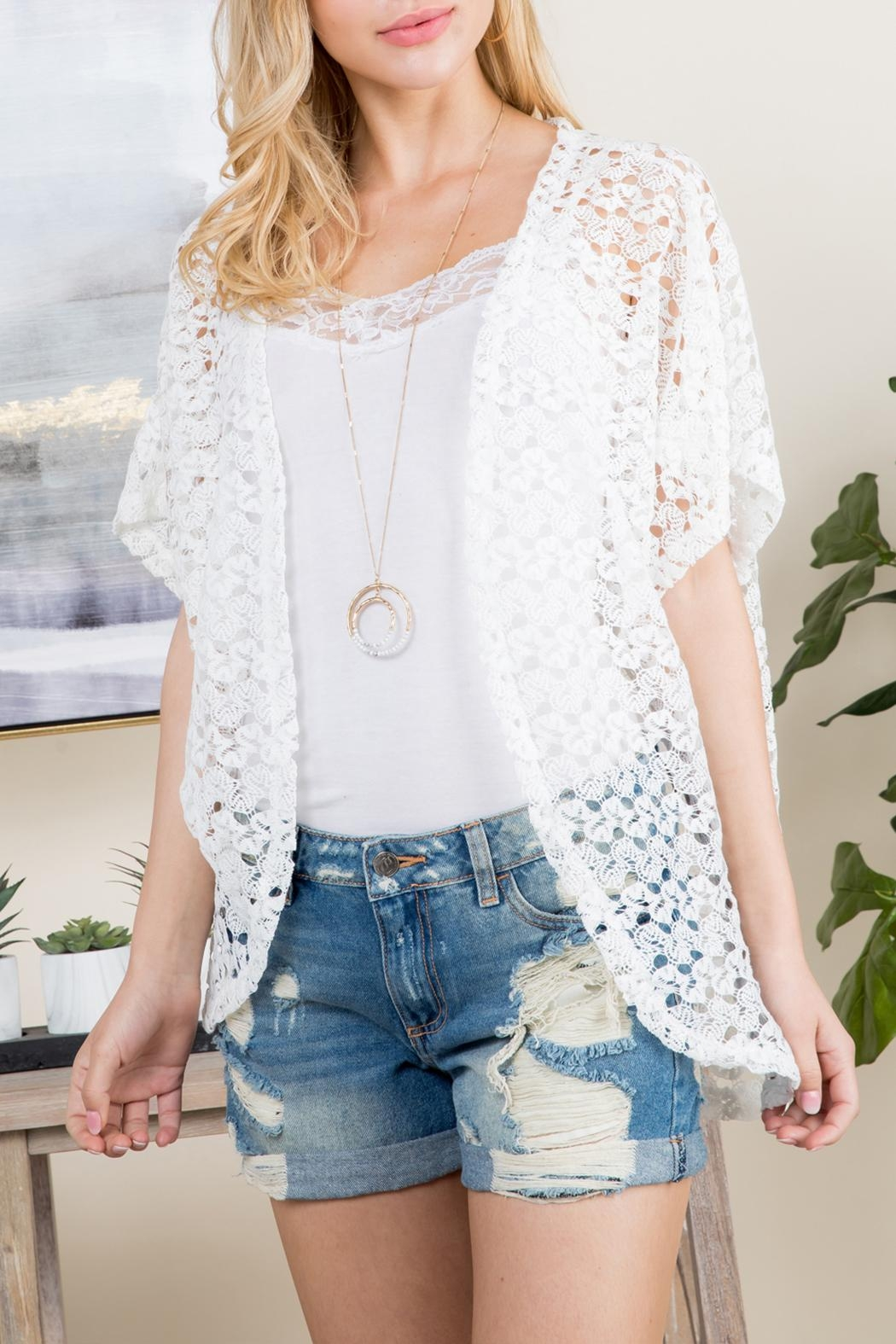 Riah Fashion Open-Front Lace Kimono - Front Cropped Image
