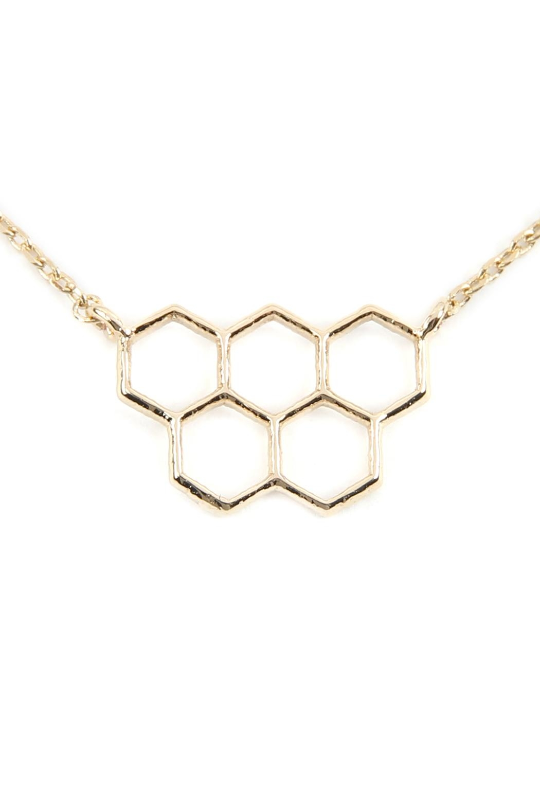 Riah Fashion Open Honeycomb-Pendant-Necklace - Main Image