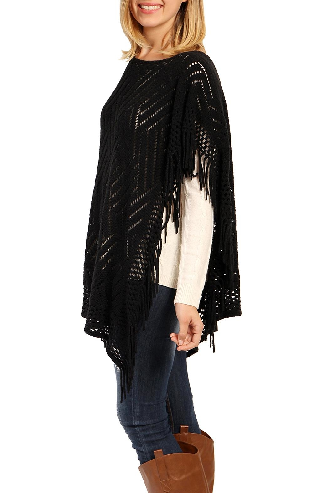 Riah Fashion Open Knit Poncho - Front Full Image