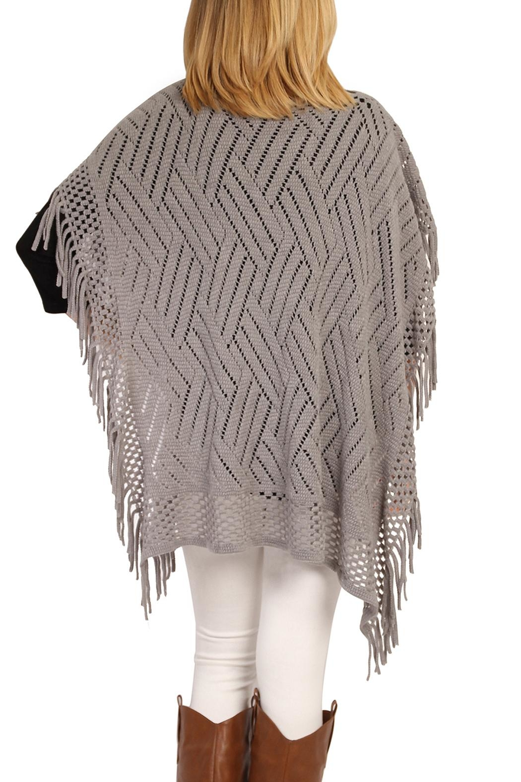 Riah Fashion Open Knit Poncho - Side Cropped Image