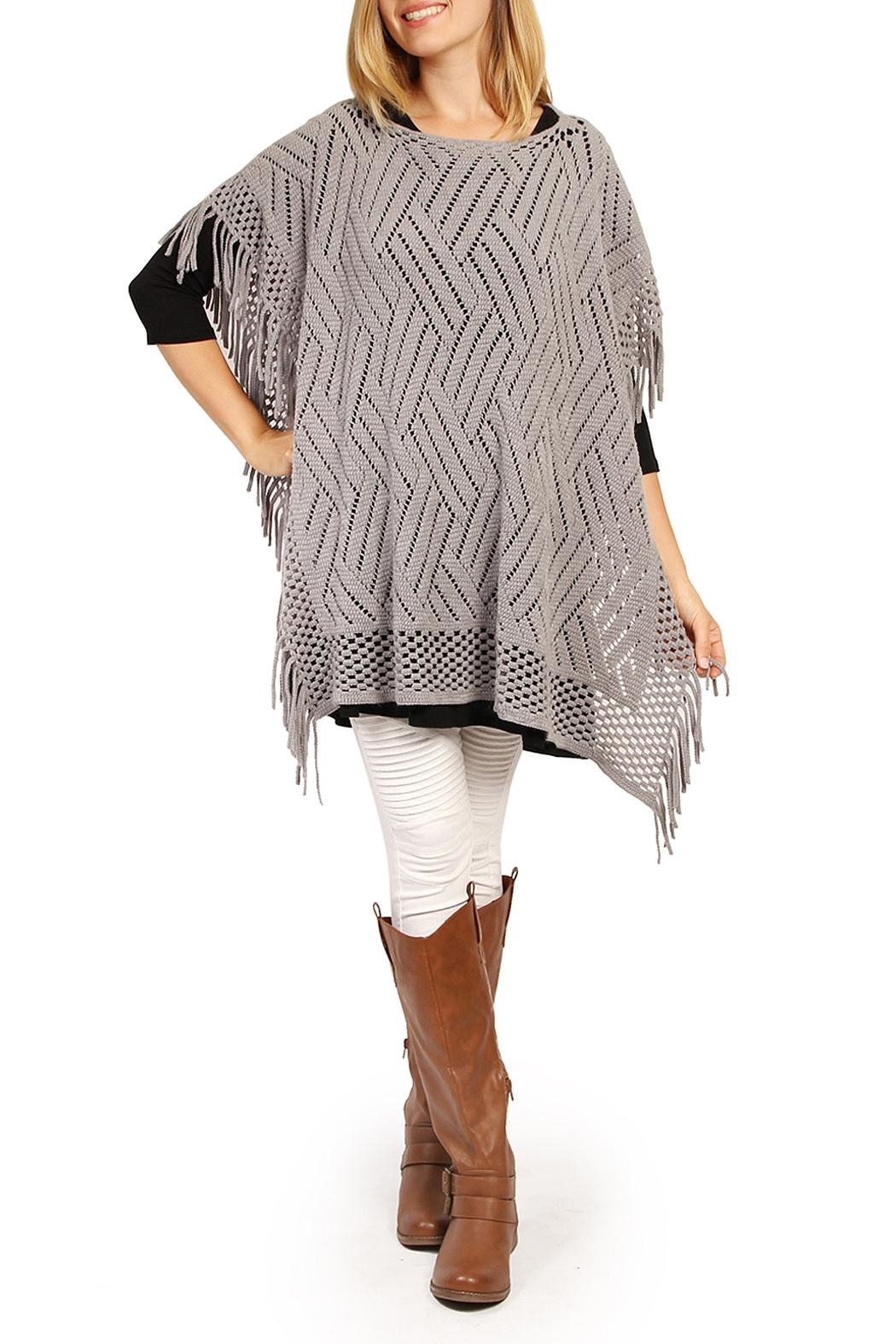 Riah Fashion Open Knit Poncho - Main Image