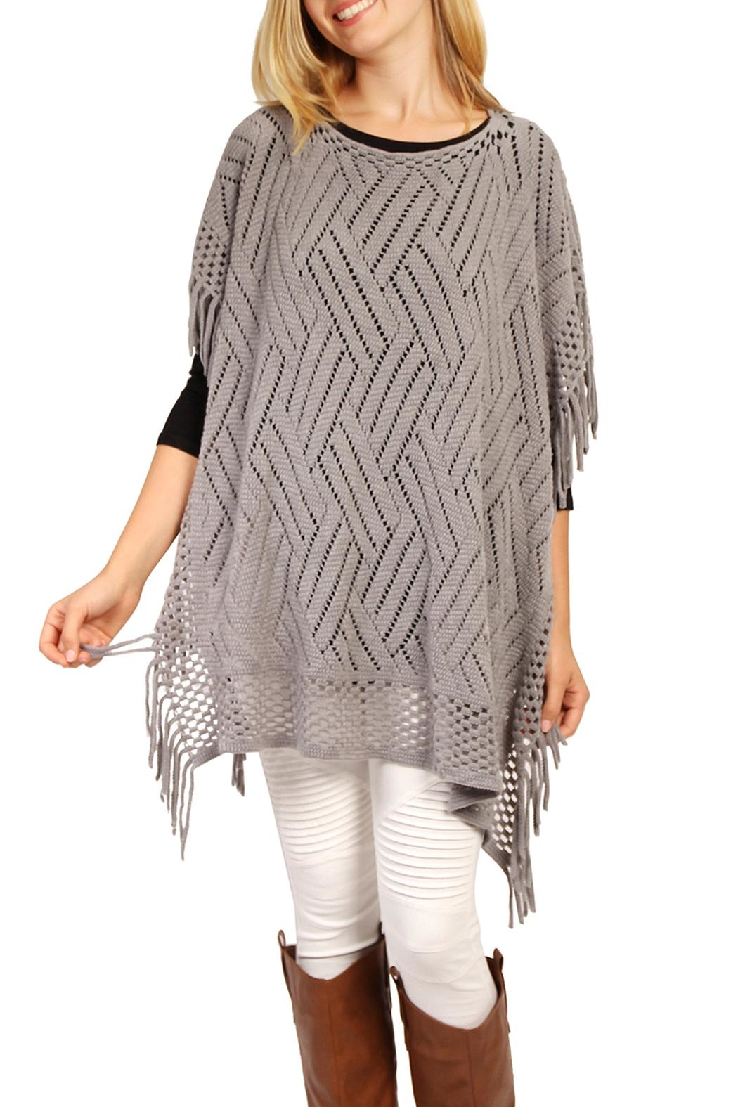 Riah Fashion Open Knit Poncho - Back Cropped Image