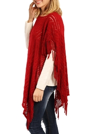 Riah Fashion Open Knit Poncho - Front full body