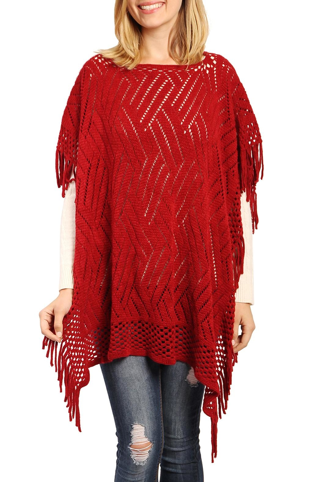 Riah Fashion Open Knit Poncho - Front Cropped Image