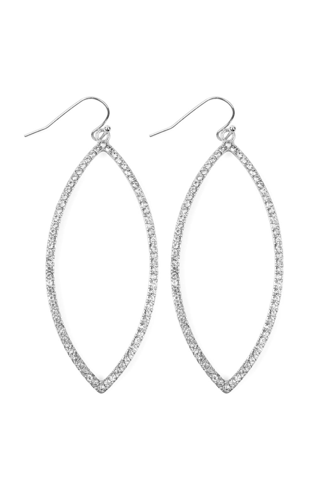 Riah Fashion Open Marquise Rhinestone-Earrings - Front Cropped Image