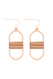 Riah Fashion Open Oval Natural Stone Drop Earrings - Front cropped