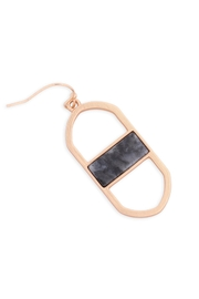 Riah Fashion Open Oval Natural Stone Drop Earrings - Side cropped