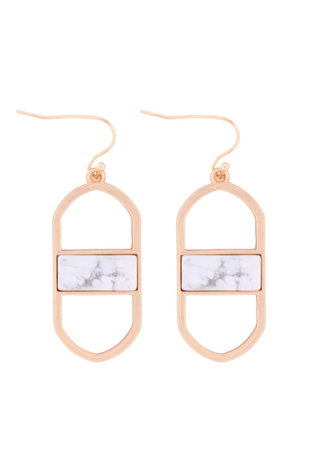 Riah Fashion Open Oval Natural Stone Drop Earrings - Front Cropped Image