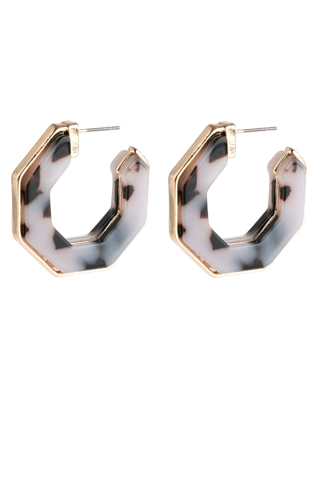 Riah Fashion Open-Polygon Faceted-Acetate Earrings - Main Image
