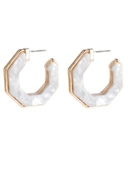 Riah Fashion Open-Polygon Faceted-Acetate Earrings - Front cropped