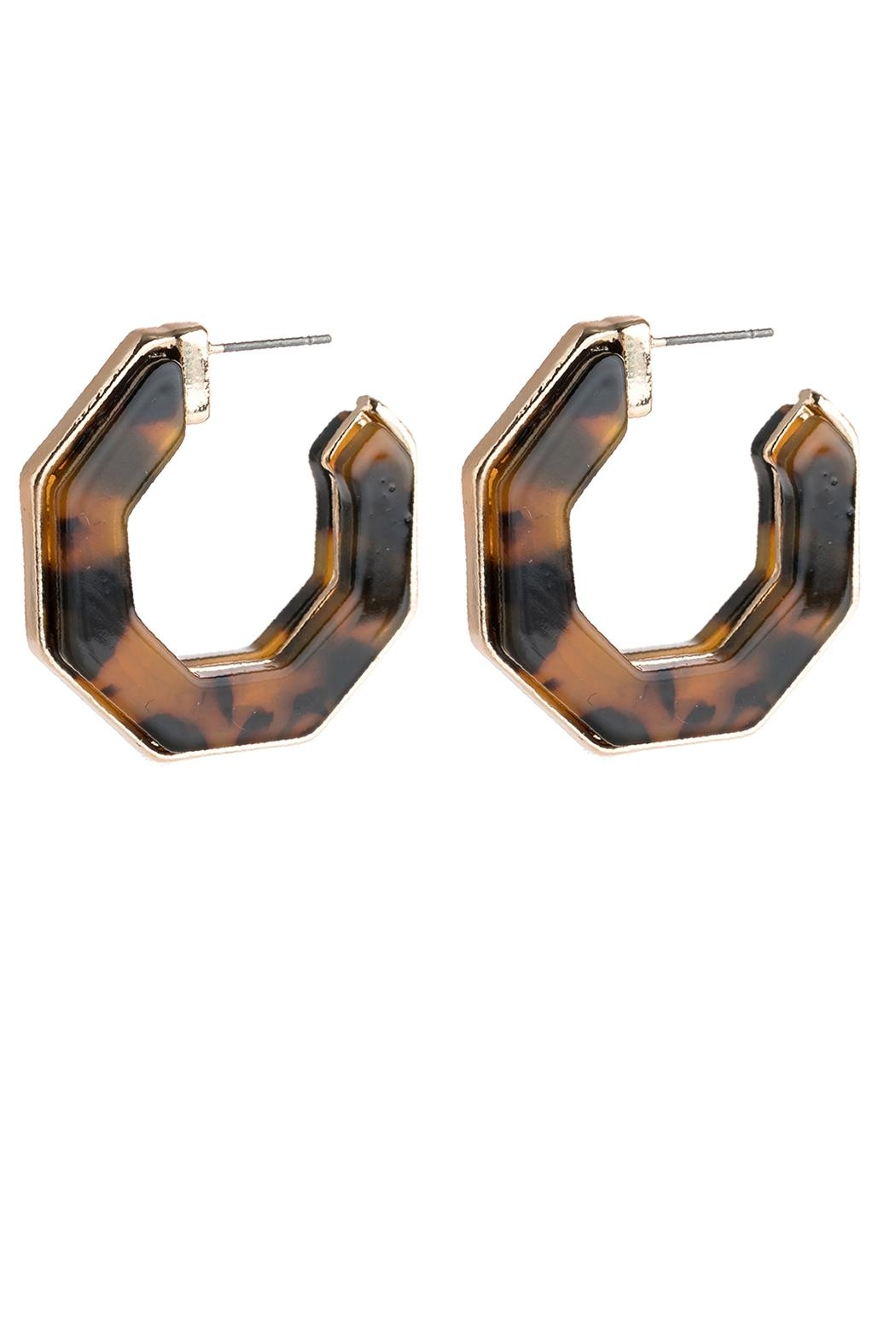 Riah Fashion Open-Polygon Faceted-Acetate Earrings - Front Cropped Image