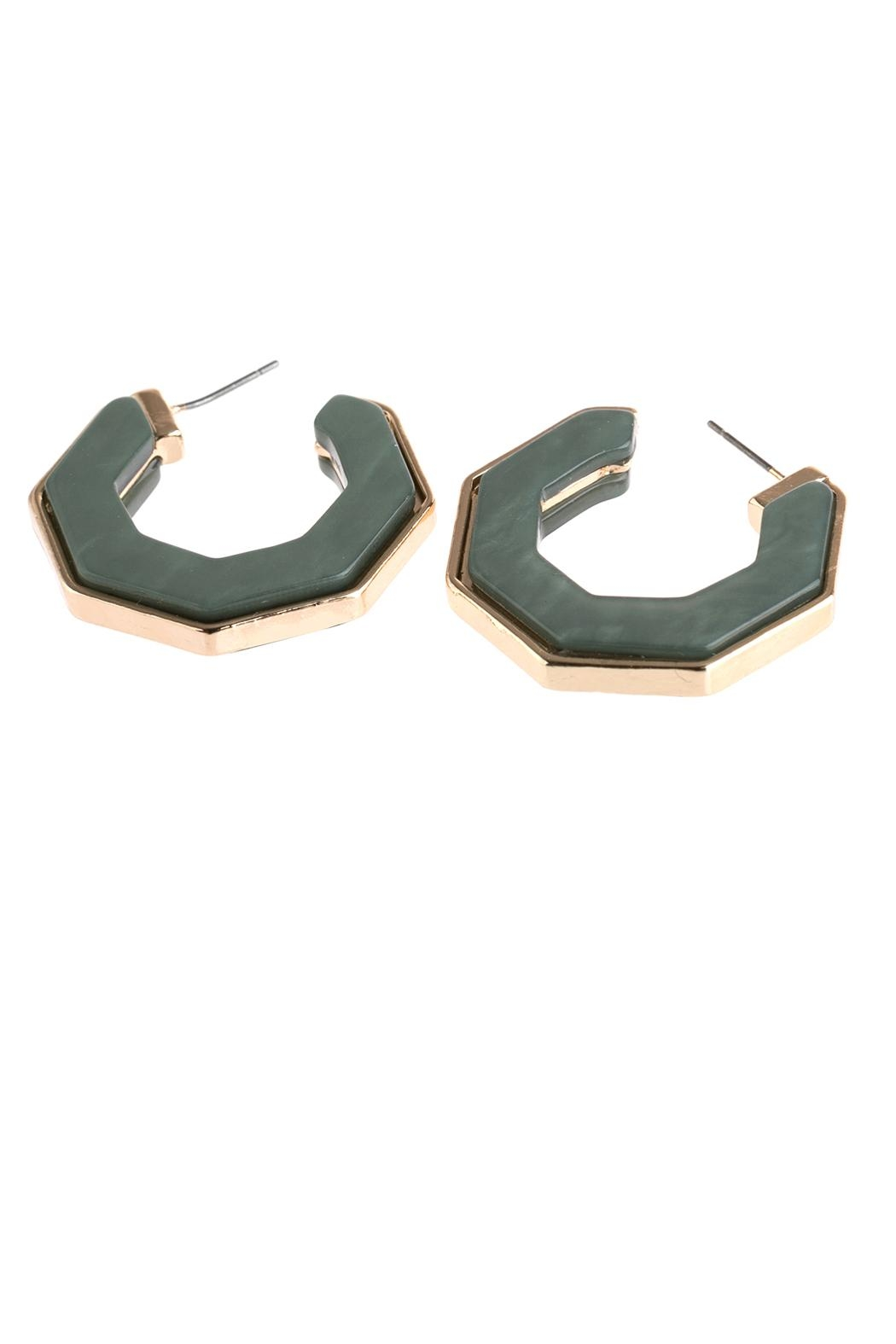 Riah Fashion Open-Polygon Faceted-Acetate Earrings - Front Full Image
