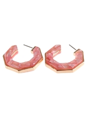 Riah Fashion Open-Polygon Faceted-Acetate Earrings - Front full body