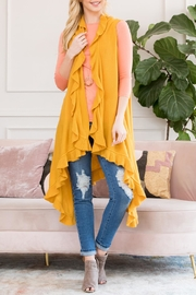 Riah Fashion Open Ruffled Sleeveless Cardigans - Front cropped
