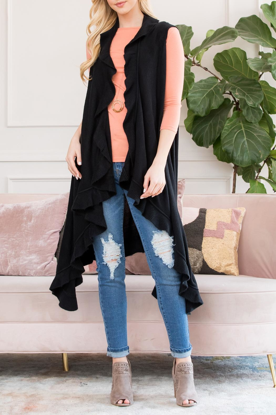 Riah Fashion Open Ruffled Sleeveless Cardigans - Main Image