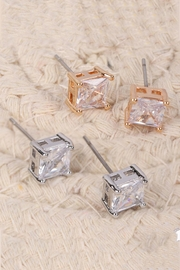 Riah Fashion Org-6mm-Square-Cubic-Zirconia-Stud-Earrings - Front full body