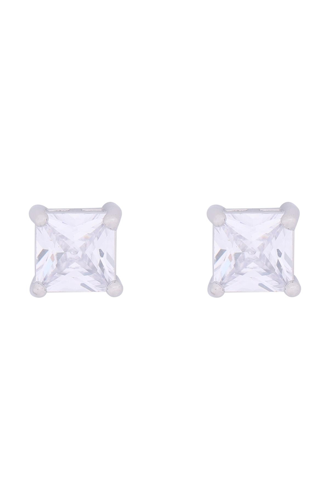 Riah Fashion Org-6mm-Square-Cubic-Zirconia-Stud-Earrings - Front Cropped Image