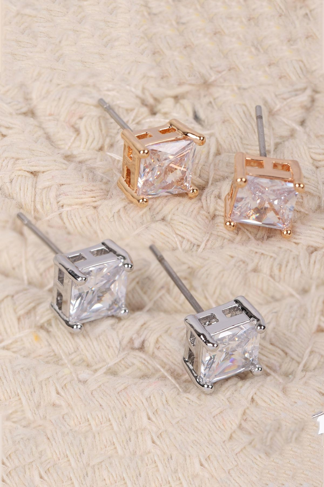 Riah Fashion Org-6mm-Square-Cubic-Zirconia-Stud-Earrings - Front Full Image