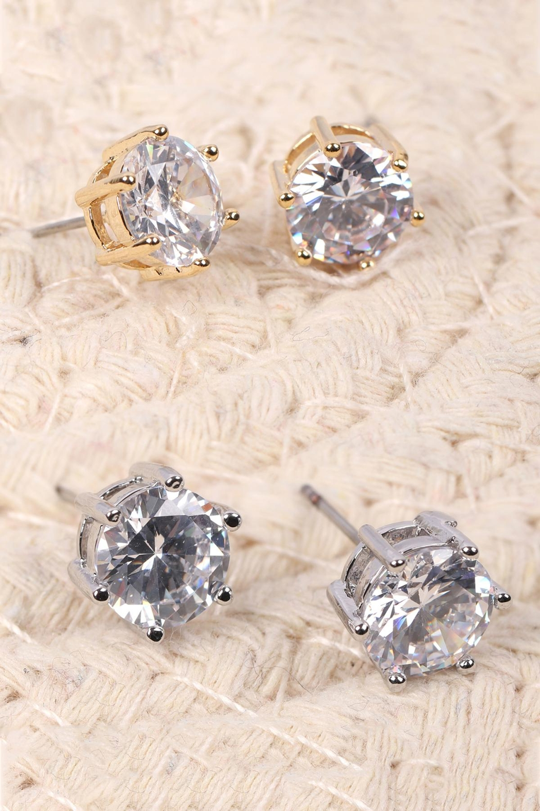 Riah Fashion Org-8mm-Round-Cubic-Zirconia-Stud-Earrings - Front Full Image