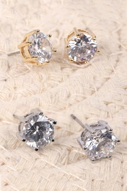 Riah Fashion Org-8mm-Round-Cubic-Zirconia-Stud-Earrings - Front full body