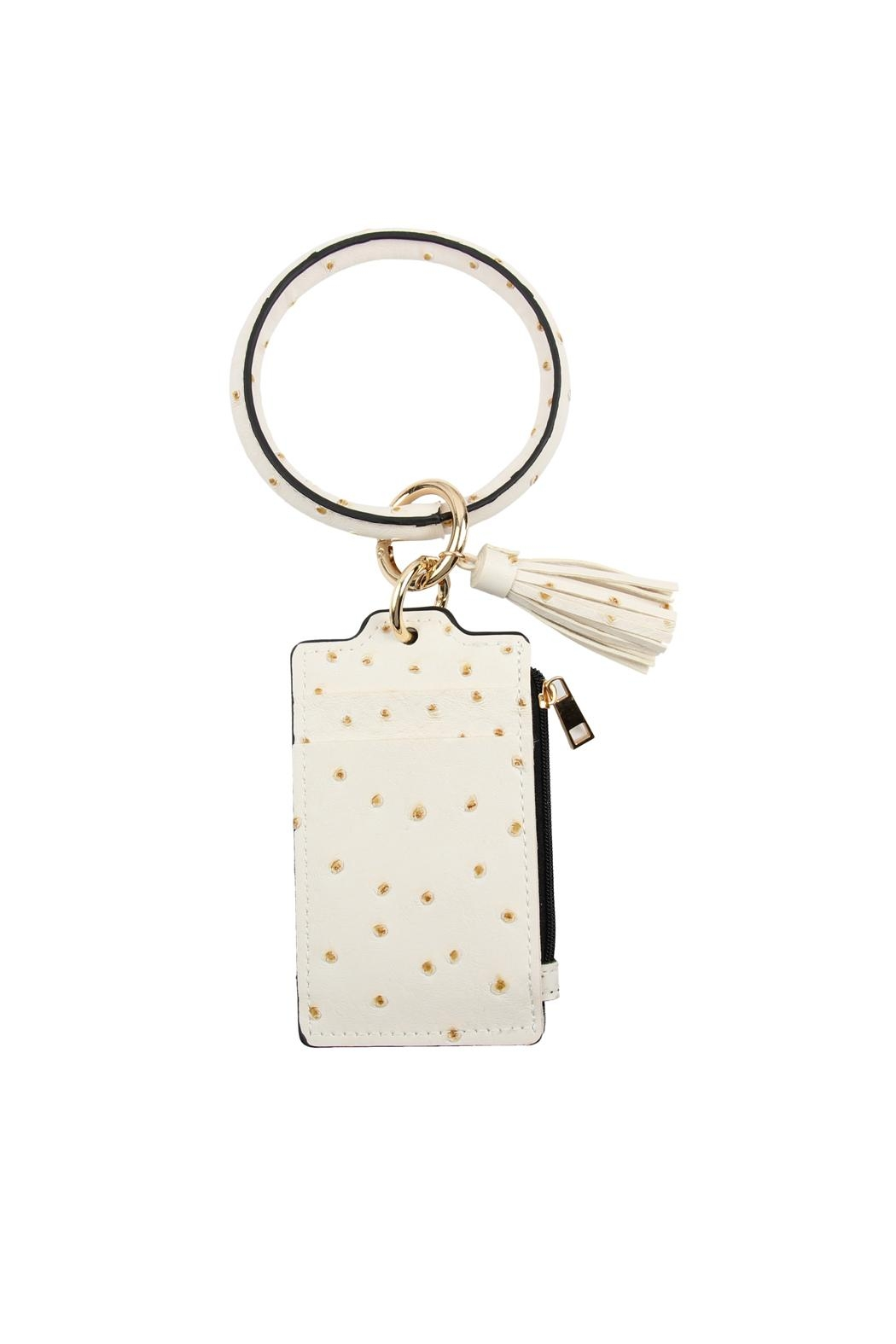 Riah Fashion Ostrich Id Card Keychain - Front Cropped Image