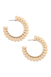 Riah Fashion Ound Shape With Flower Texture Metal Hoop Earrings - Product Mini Image