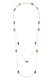 Riah Fashion Oval Bead-Leopard-Print-Stationary-Necklace - Front cropped