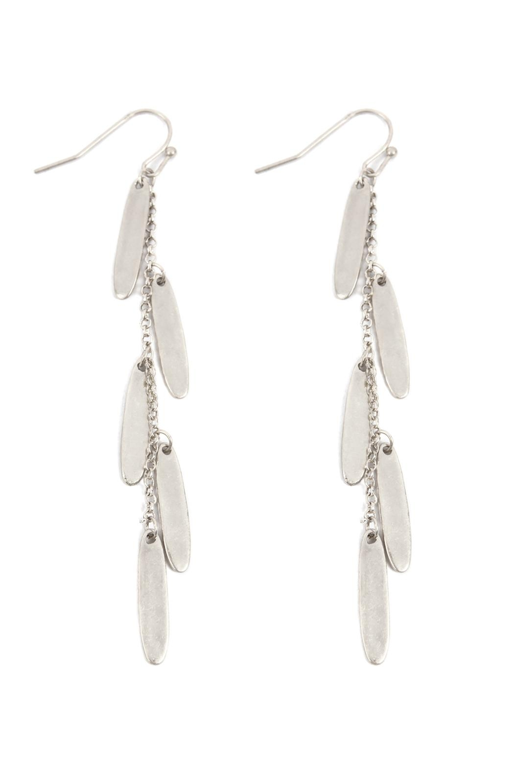 Riah Fashion Oval Chain Cluster Drop Fish Hook Earrings - Front Cropped Image