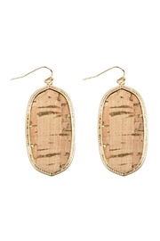Riah Fashion Oval-Cork Fish Hook-Drop-Earrings - Product Mini Image